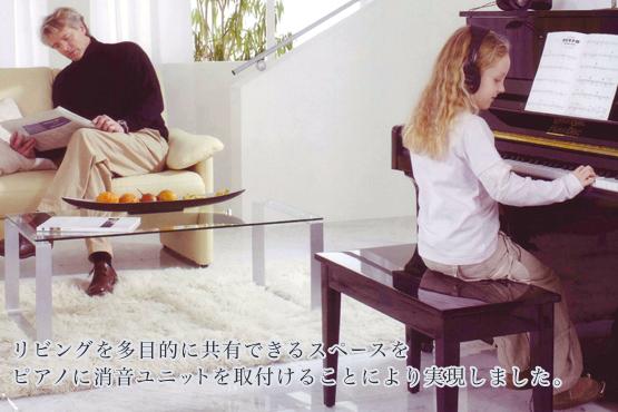 リビングを多目的に共有できるスペースをピアノに消音ユニットを取付けることにより実現しました。音源システムはフランスDREAM社製SAM9708(ピアノはイタリアファツオリピアノサンプリング)